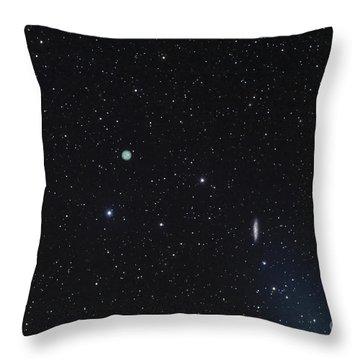 M108 Galaxy And M97 Owl Nebula Throw Pillow