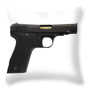 Mab Model D French Police Issue Pistol Throw Pillow by Andrew Chittock