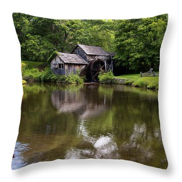 Mabry Mill And Pond Throw Pillow