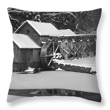 Mabry Mill In Black And White Throw Pillow by Joe Elliott