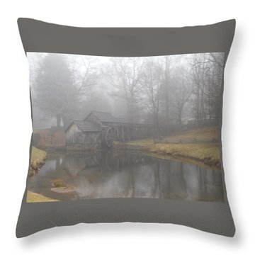 Throw Pillow featuring the photograph Mabry Mill On A Foggy Day by Diannah Lynch
