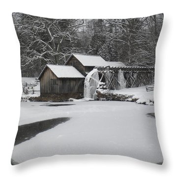 Mabry Mill On Ice Throw Pillow