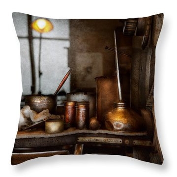Machinist - Tool - Got Oil  Throw Pillow by Mike Savad