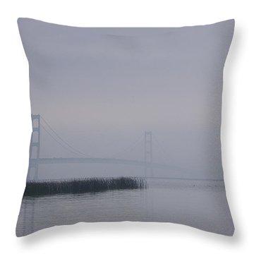 Throw Pillow featuring the photograph Mackinac Bridge And Swans by Randy Pollard