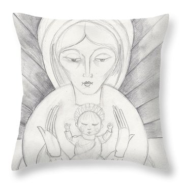Madonna And Child Throw Pillow by John Keaton