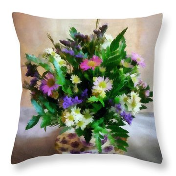 Magenta And White Mum Bouquet Throw Pillow by Susan Savad