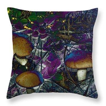 Magic Mushrooms Throw Pillow by Barbara S Nickerson