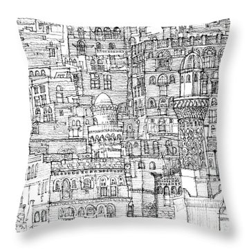 Magical Architecture Of Yemen In Ink  Throw Pillow by Adendorff Design