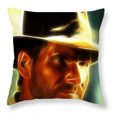 Magical Indiana Jones Throw Pillow by Paul Van Scott