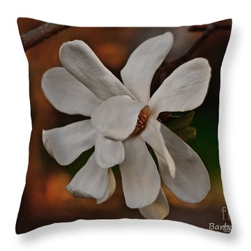 Throw Pillow featuring the photograph Magnolia Bloom by Barbara McMahon