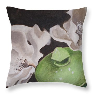 Magnolias With Green Sugar Bowl Throw Pillow