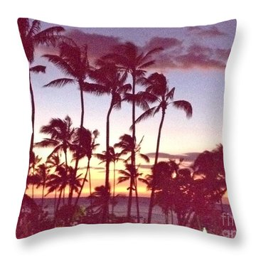 Mahalo For This Day Throw Pillow by Beth Saffer