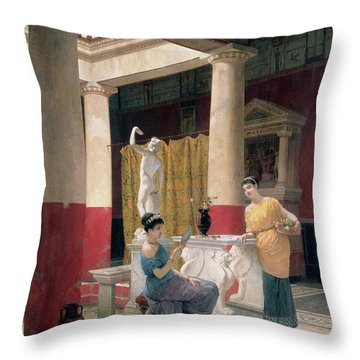 Maidens In A Classical Interior Throw Pillow by Luigi Bazzani