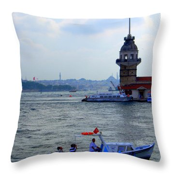 Throw Pillow featuring the photograph Maidens Tower Istanbul by Lou Ann Bagnall
