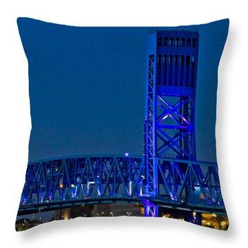 Main Street Bridge Jacksonville Throw Pillow by Debra and Dave Vanderlaan