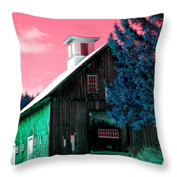 Maine Barn Throw Pillow by Marie Jamieson