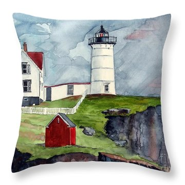 Throw Pillow featuring the painting Maine Lighthouse by Tom Riggs