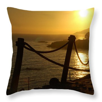 Malibu Sunset Throw Pillow by Micah May