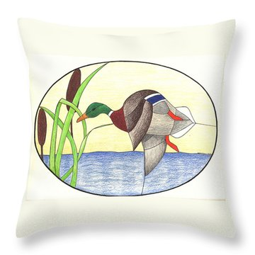 Mallard Duck Throw Pillow