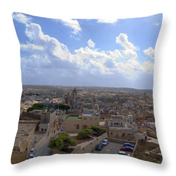 Malta Panoramic View Of Valletta  Throw Pillow by Guy Viner