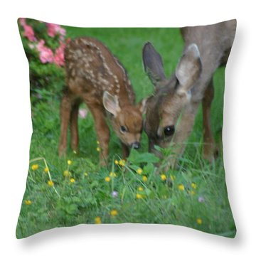 Mama And Spotted Baby Fawn Throw Pillow by Kym Backland