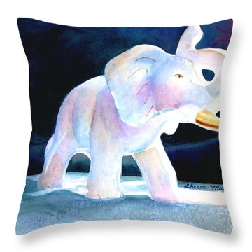 Throw Pillow featuring the painting Mama's White Elephant by Sharon Mick