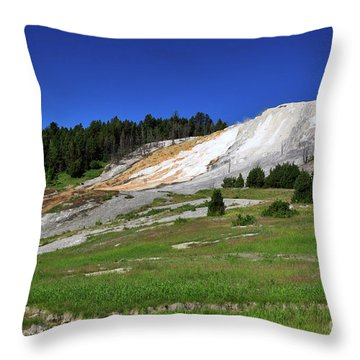 Mammoth Hot Springs Lower Terrace Throw Pillow by Louise Heusinkveld
