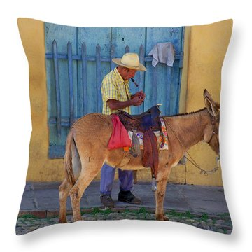 Throw Pillow featuring the photograph Man And A Donkey by Lynn Bolt