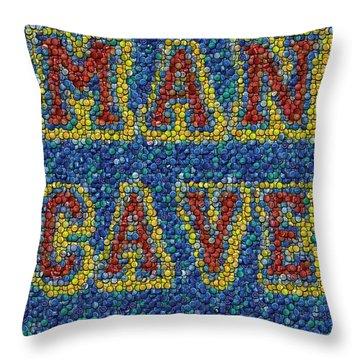 Man Cave Bottle Cap Mosaic Throw Pillow by Paul Van Scott