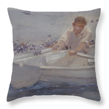 Man In A Rowing Boat Throw Pillow by Henry Scott Tuke