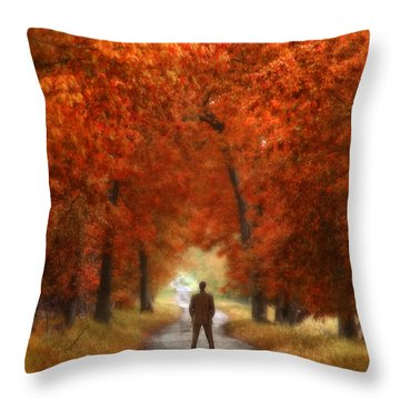 Man In Suit On Rural Road In Autumn Throw Pillow by Jill Battaglia