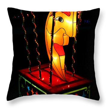 Man In The Moon Lantern Throw Pillow by Greg Matchick
