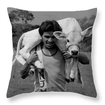 Man With Calf Throw Pillow by Michael Mogensen