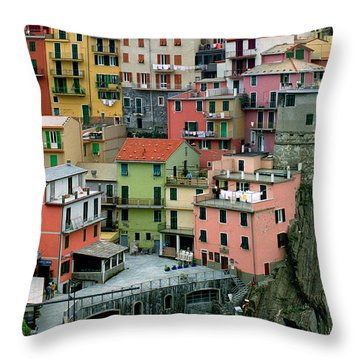 Manarola Houses On The Cinque Terre Throw Pillow by Greg Matchick