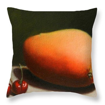 Mango And Cherries Throw Pillow