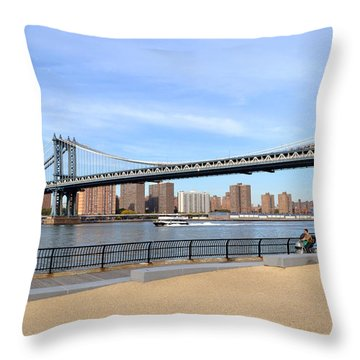 Manhattan Bridge1 Throw Pillow by Zawhaus Photography