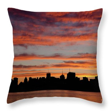 Manhattan Dawn Skyline II Throw Pillow by Clarence Holmes
