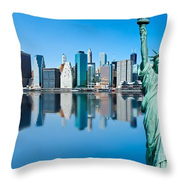 Throw Pillow featuring the photograph Manhattan Liberty by Luciano Mortula