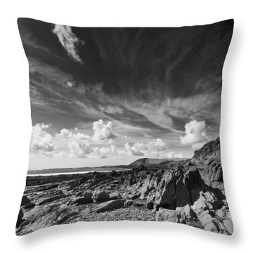 Throw Pillow featuring the photograph Manorbier Rocks by Steve Purnell