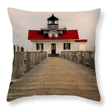 Throw Pillow featuring the photograph Manteo Lighthouse by Cindy Haggerty