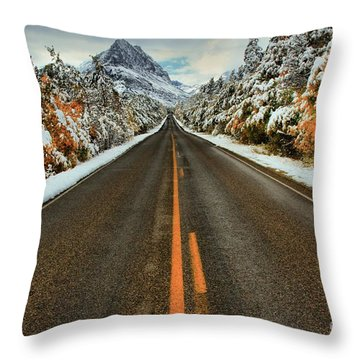 Many Glacier Road Throw Pillow by Adam Jewell