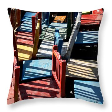 Throw Pillow featuring the photograph Many Seats For Learning by EricaMaxine  Price