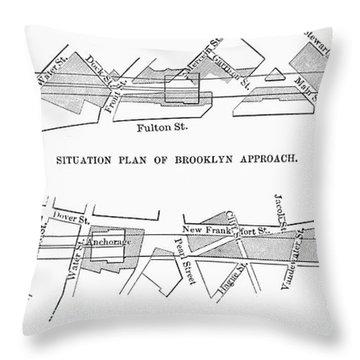 Map: Brooklyn Bridge Throw Pillow by Granger