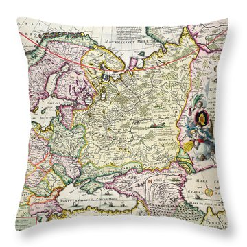 Map Of Asia Minor Throw Pillow by Nicolaes Visscher