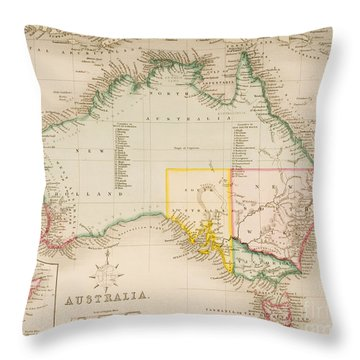 Map Of Australia And New Zealand Throw Pillow by J Archer