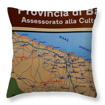 Map Of Bari Italy Throw Pillow by Caroline Stella
