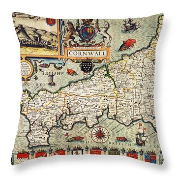 Map Of Cornwall Throw Pillow by John Speed