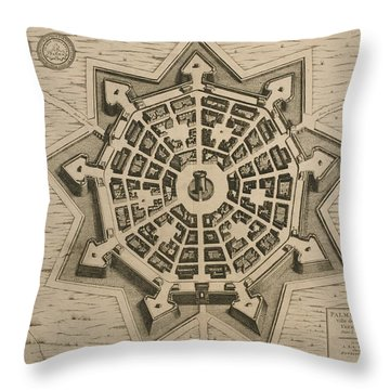 Map Of Palmanova Throw Pillow