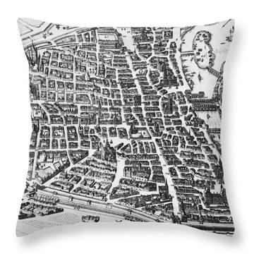 Map Of Paris Throw Pillow by German School