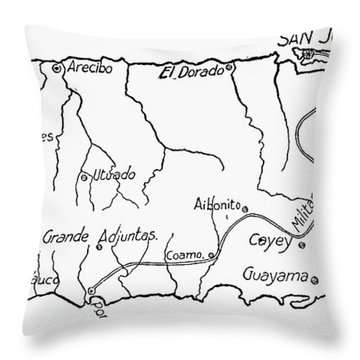 Map Of Puerto Rico, 1899 Throw Pillow by Granger